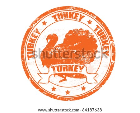 Grunge rubber stamp with a turkey silhouette and the word  turkey  written inside the stamp - stock vector