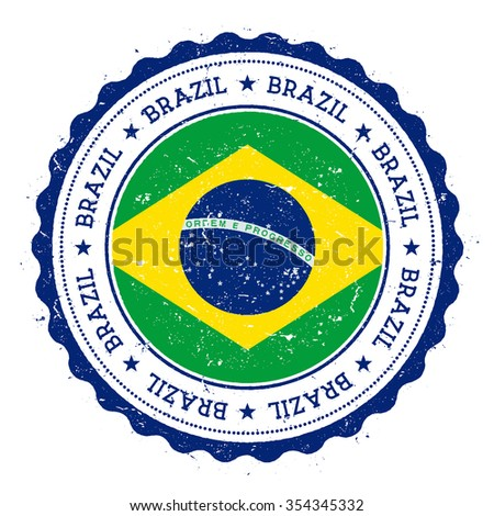 Grunge rubber stamp with Brazil flag. Vintage travel stamp with circular text, stars and country flag inside it, vector illustration - stock vector