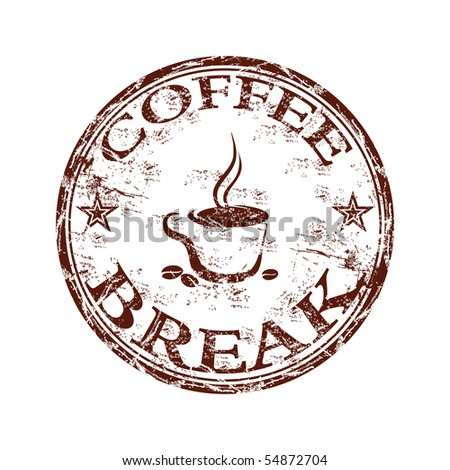 Grunge rubber stamp with coffee cup symbol and the text coffee break written inside the stamp - stock vector