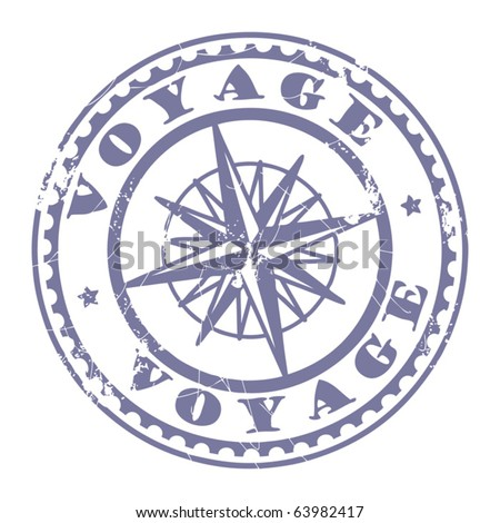 Grunge rubber stamp with compass and the text Voyage written inside the stamp, vector illustration - stock vector