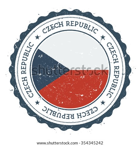 Grunge rubber stamp with Czech Republic flag. Vintage travel stamp with circular text, stars and country flag inside it, vector illustration