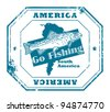 Grunge rubber stamp with fish shape and the text America, Go Fishing written inside, vector illustration - stock vector