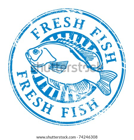 Grunge rubber stamp with fish shape and the word fresh for Fish symboled stamp