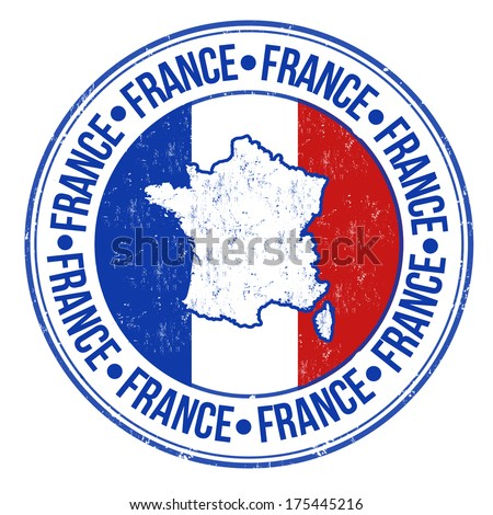 Grunge rubber stamp with france flag, map and the word France written inside, vector illustration - stock vector