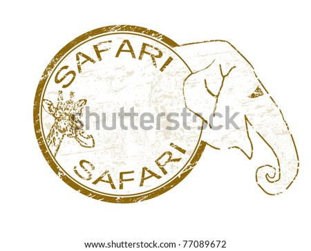 Grunge rubber stamp with giraffe and elephant shape and the text safari written inside - stock vector