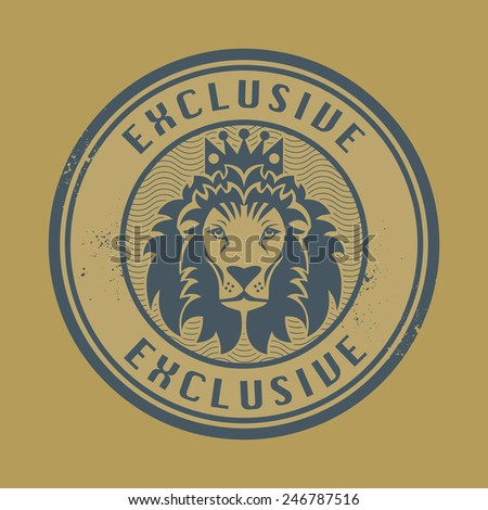 Grunge rubber stamp with Lion head and the word exclusive written inside the stamp - stock vector