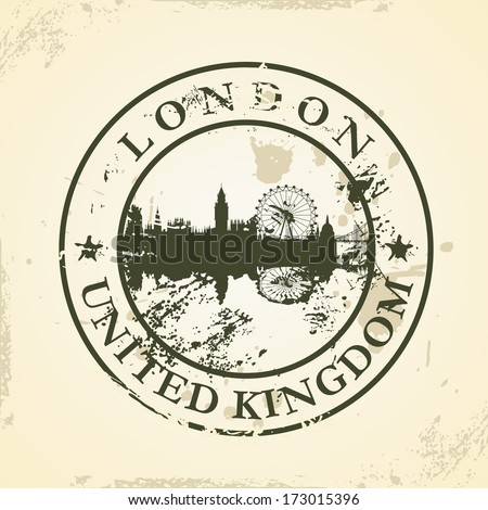 Grunge rubber stamp with London, United Kingdom - vector illustration