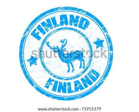 Grunge rubber stamp with moose shape and the name Finland written inside the stamp