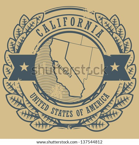 Grunge rubber stamp with name and map of California, USA, vector illustration - stock vector