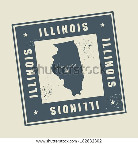 Grunge rubber stamp with name and map of Illinois, USA, vector illustration - stock vector