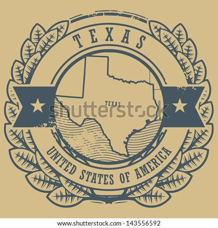 Grunge rubber stamp with name and map of Texas, USA, vector illustration - stock vector