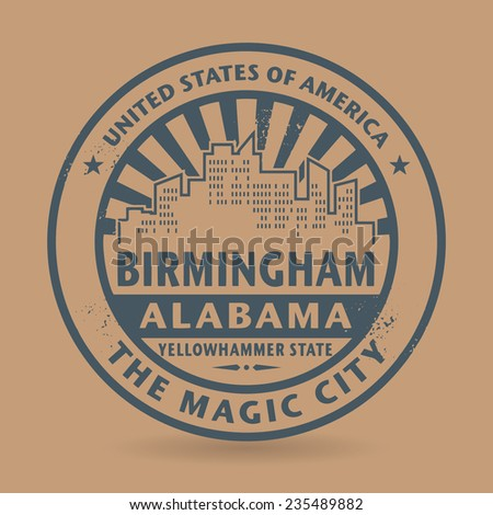 Grunge rubber stamp with name of Birmingham, Alabama, vector illustration