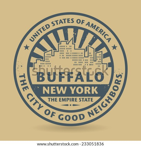 Grunge rubber stamp with name of Buffalo, New York, vector illustration - stock vector