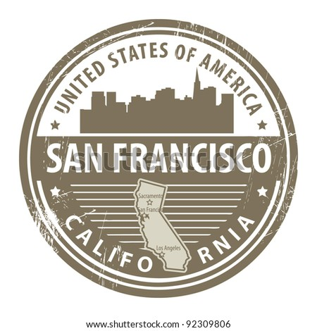 Grunge rubber stamp with name of California, San Francisco, vector illustration - stock vector