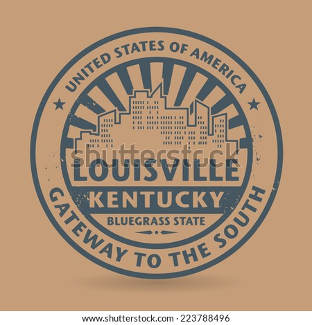 Grunge rubber stamp with name of Louisville, Kentucky, vector illustration