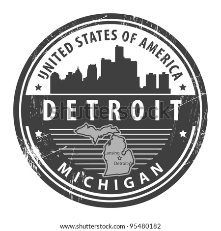 Grunge rubber stamp with name of Michigan, Detroit, vector illustration - stock vector