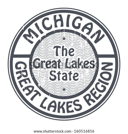 Grunge rubber stamp with name of Michigan, Great Lakes Region, vector illustration - stock vector