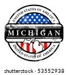 Grunge rubber stamp with name of Michigan, vector illustration - stock vector