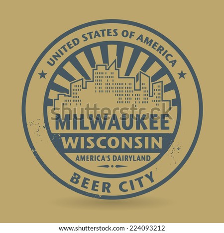 Grunge rubber stamp with name of Milwaukee, Wisconsin, vector illustration