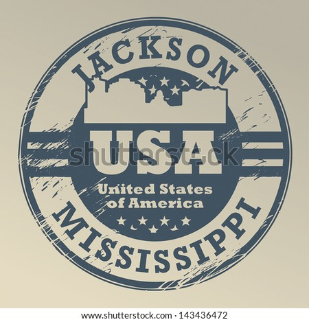 Grunge rubber stamp with name of Mississippi, Jackson, vector illustration - stock vector