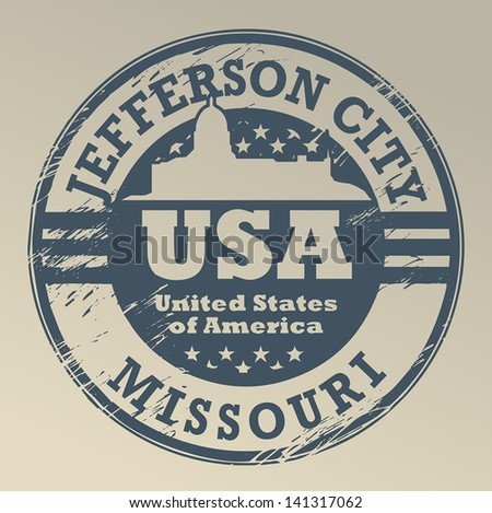 Grunge rubber stamp with name of Missouri, Jefferson City, vector illustration