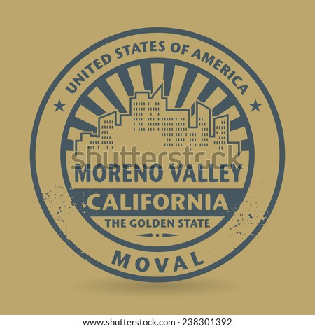 Grunge rubber stamp with name of Moreno Valley, California, vector illustration