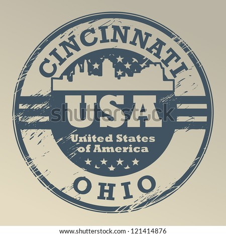Grunge rubber stamp with name of Ohio, Cincinnati, vector illustration