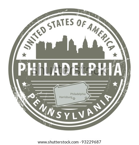 Grunge rubber stamp with name of Pennsylvania, Philadelphia, vector illustration - stock vector