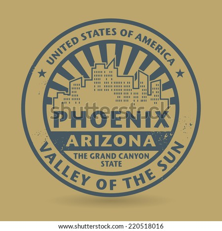 Grunge rubber stamp with name of Phoenix, Arizona, vector illustration