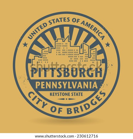 Grunge rubber stamp with name of Pittsburgh, Pennsylvania, vector illustration - stock vector