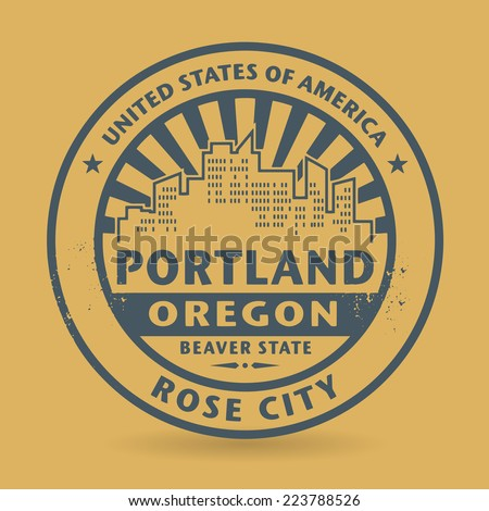 Grunge rubber stamp with name of Portland, Oregon, vector illustration - stock vector
