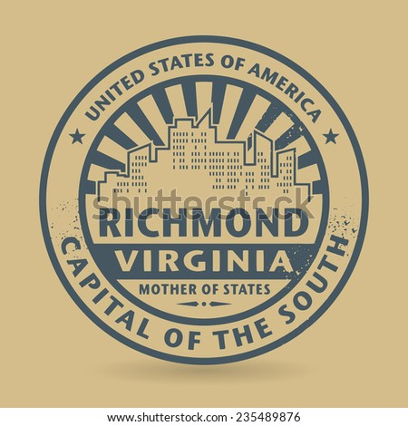Grunge rubber stamp with name of Richmond, Virginia, vector illustration