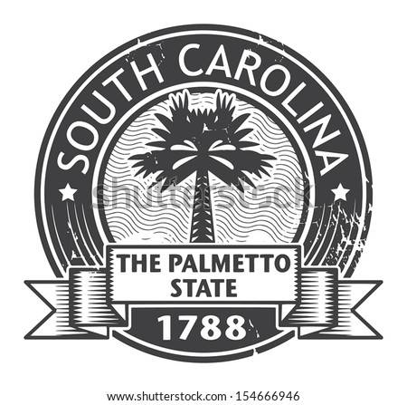Grunge rubber stamp with name of South Carolina, vector illustration - stock vector