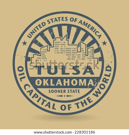 Grunge rubber stamp with name of Tulsa, Oklahoma, vector illustration