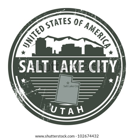 Grunge rubber stamp with name of Utah, Salt Lake City, vector illustration - stock vector