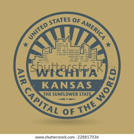 Grunge rubber stamp with name of Wichita, Kansas, vector illustration