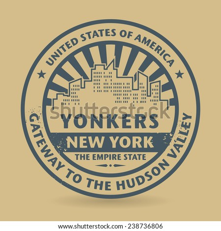 Grunge rubber stamp with name of Yonkers, New York, vector illustration