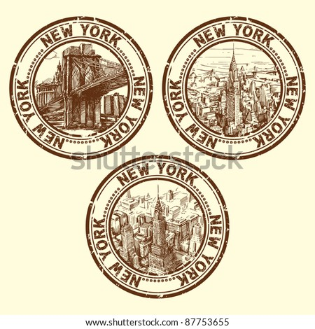 grunge rubber stamp with new york - vector illustration - stock vector