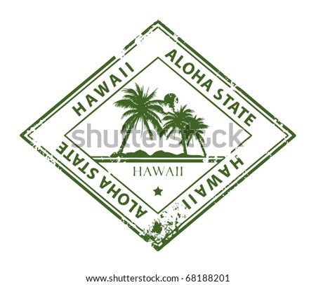 Grunge rubber stamp with palms and the word Hawaii inside, vector illustration - stock vector