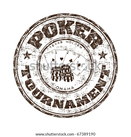 Grunge rubber stamp with poker cards, chips and the text poker tournament written inside the stamp - stock vector