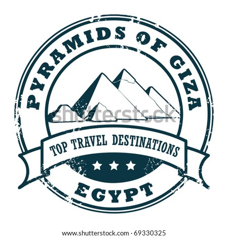 Grunge rubber stamp with Pyramids of Giza Wall, vector illustration - stock vector