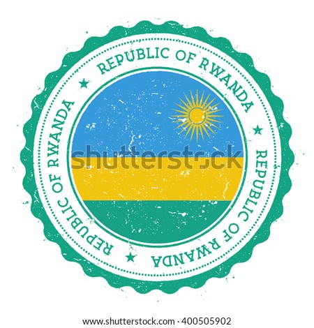 Grunge rubber stamp with Rwanda flag. Vintage travel stamp with circular text, stars and country flag inside it, vector illustration. - stock vector