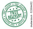 Grunge rubber stamp with small stars and the word Free Delivery inside, vector illustration - stock vector