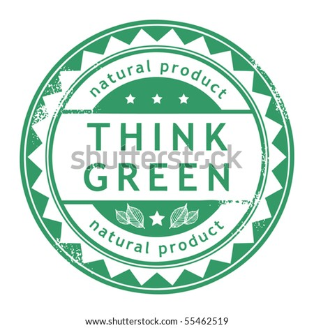 Grunge rubber stamp with small stars and the word Think Green inside, vector illustration