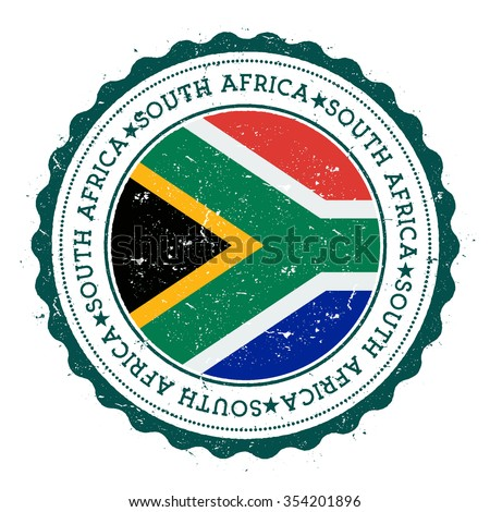 Grunge rubber stamp with South Africa flag. Vintage travel stamp with circular text, stars and country flag inside it, vector illustration - stock vector