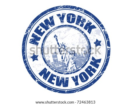 Grunge rubber stamp with Statue of Liberty and the word New York inside, vector illustration - stock vector