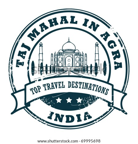 Grunge rubber stamp with Taj Mahal in Agra, vector illustration - stock vector