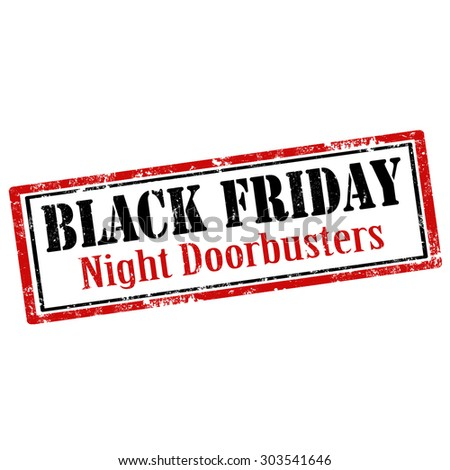 Grunge rubber stamp with text Black Friday-Night Doorbusters,vector illustration - stock vector