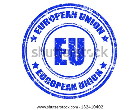 Grunge rubber stamp with text european union inside,vector illustration - stock vector