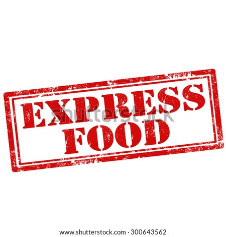 Grunge rubber stamp with text Express Food,vector illustration - stock vector